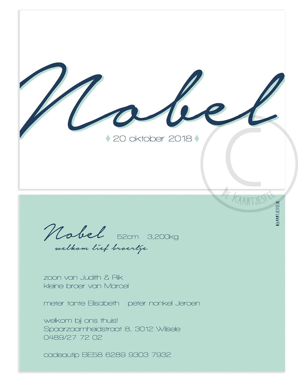 Geboortekaartje Nobel