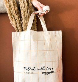 Totebag Filled with love - ruitjes