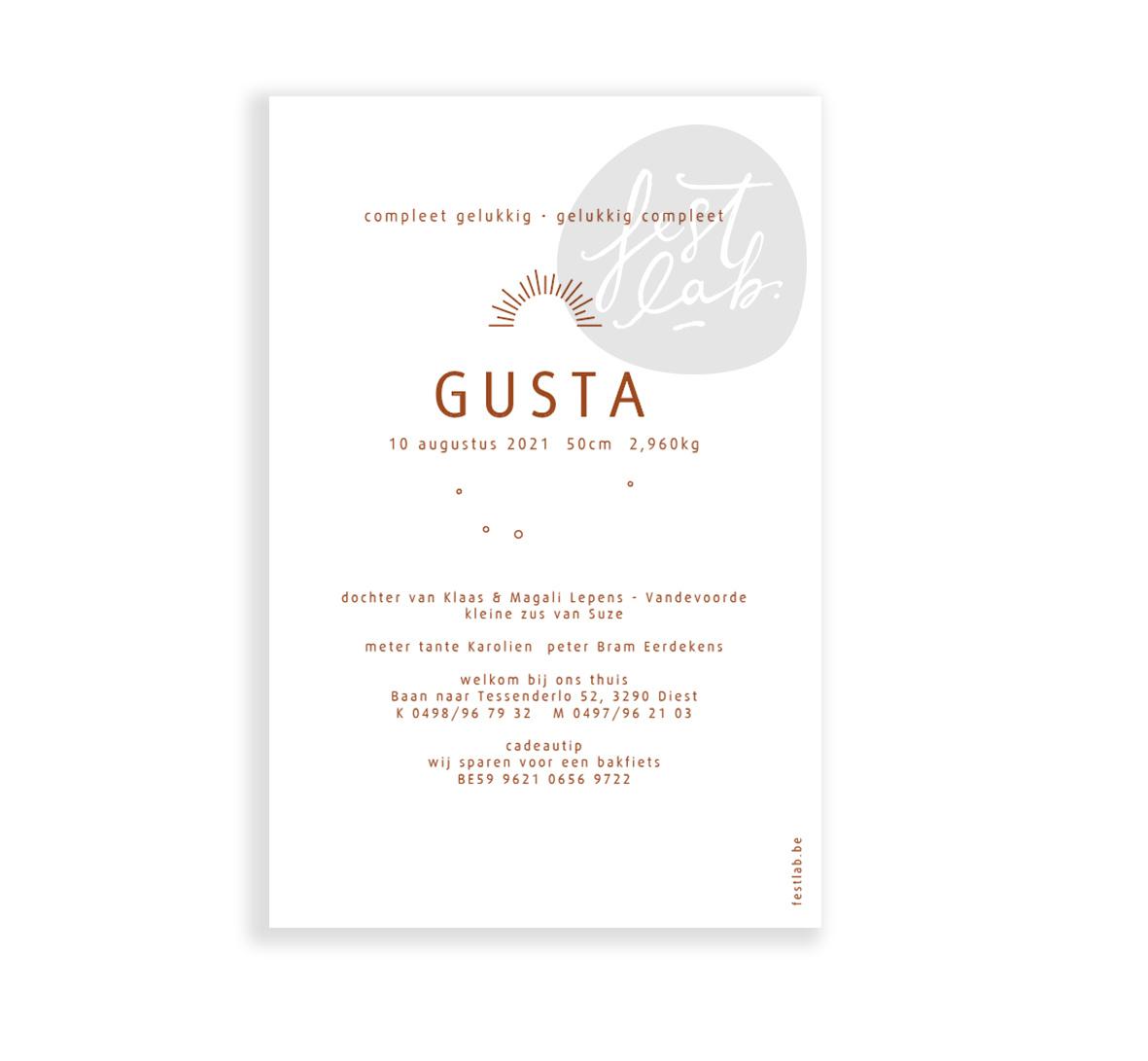 Geboortekaartje Gusta