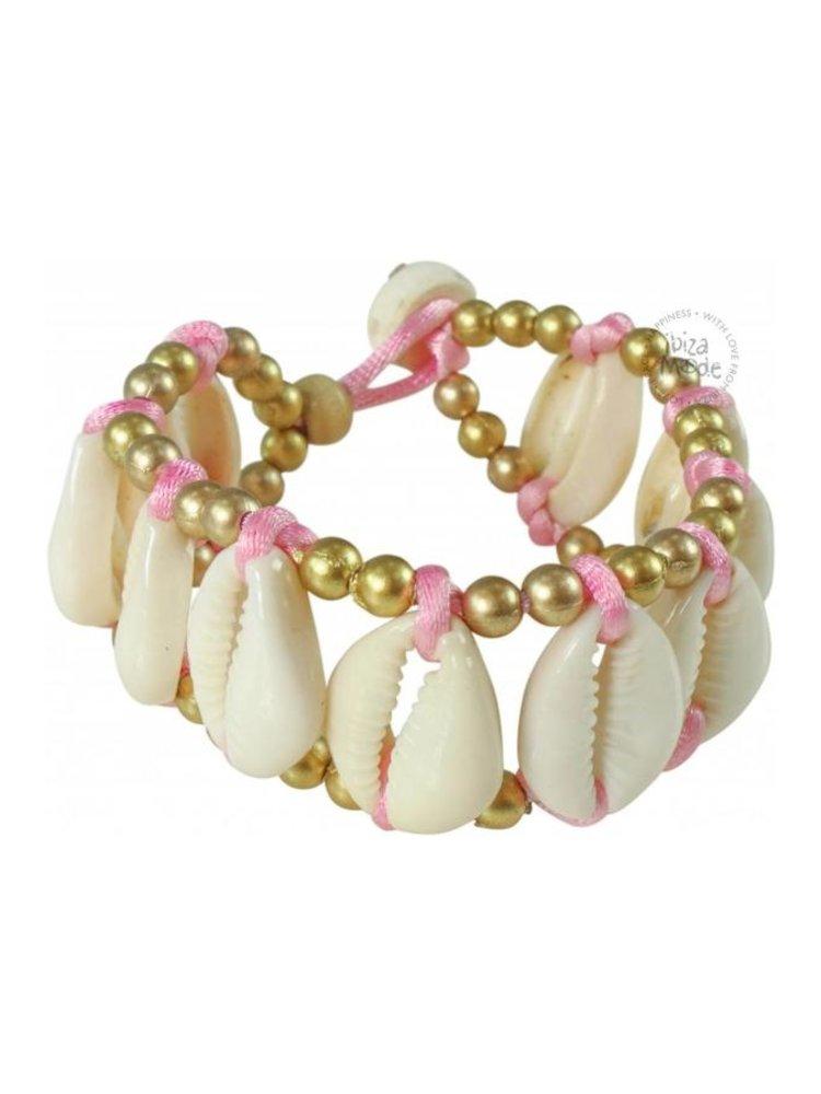 Hot Lava Bracelet Shell / Satin / Golden beads