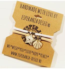 Esperanza Deseo Set beach bracelets shell & starfish nude & white