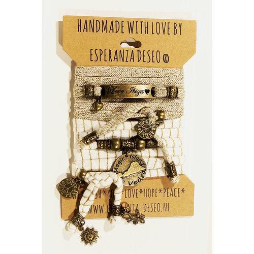 Esperanza Deseo Bracelet Love Ibiza White & Gold