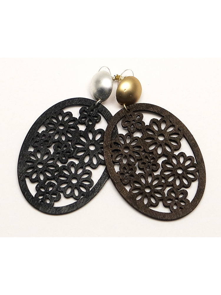 J.Y.M. Earrings Oval Wood