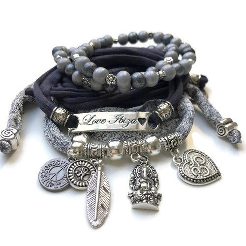 Esperanza Deseo Bracelet Love Ibiza Black & Silver grey