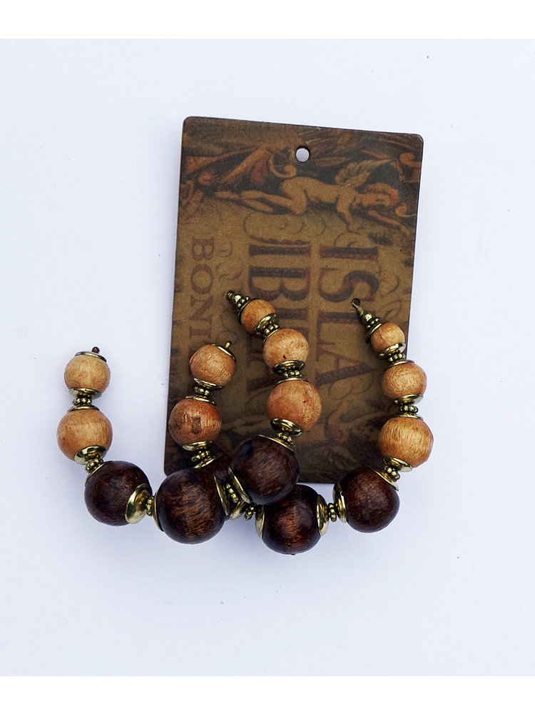 Isla Ibiza Bonita Earrings Wooden  Beads