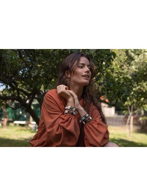 Hot Lava Bracelet Hannah  Leather- Print- Shell & Stone