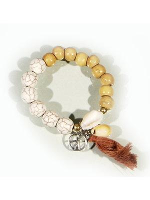 Hot Lava Bracelet Stone  Wood Fringe Brown