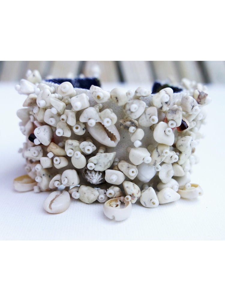Hot Lava Armband Shell & Stone  White