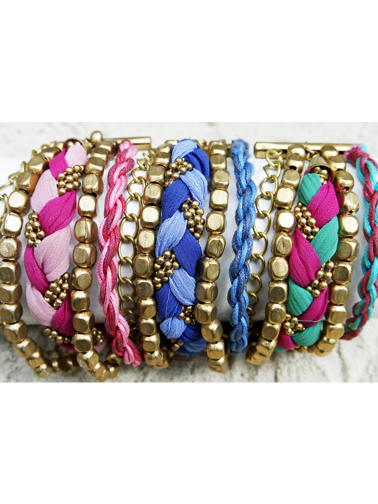 Hot Lava Bracelet Jaipur Woven Satin Gold Multi Collor