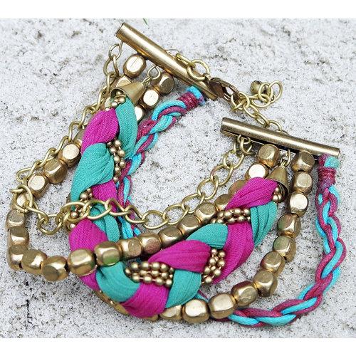 Hot Lava Bracelet Jaipur Woven Satin Gold Multi Collor