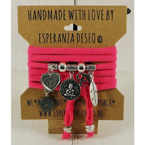 Esperanza Deseo Neon Bracelet Silver Charms Dark Pink