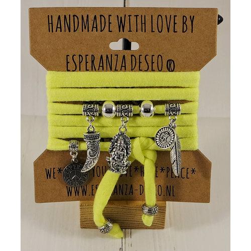 Esperanza Deseo Neon Bracelet Silver Charms Yellow