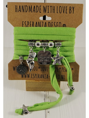 Esperanza Deseo Neon Bracelet Silver Charms - Green