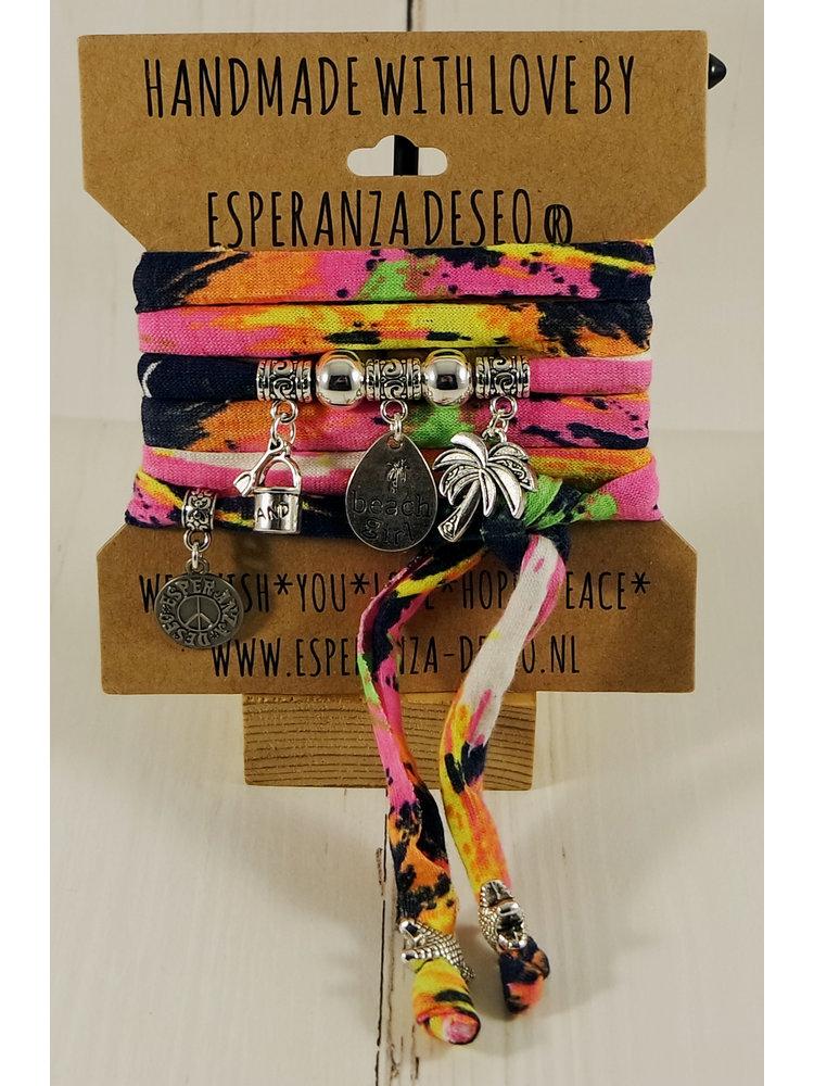 Esperanza Deseo Neon Bracelet Silver Charms Print