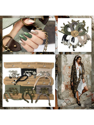 Esperanza Deseo Bracelet Natural Collor & Charms zwart