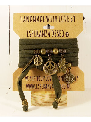 Esperanza Deseo Bracelet Natural Collor & Charms donker groen