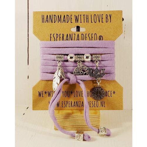 Esperanza Deseo Bracelet pastel Silver Charms lilac