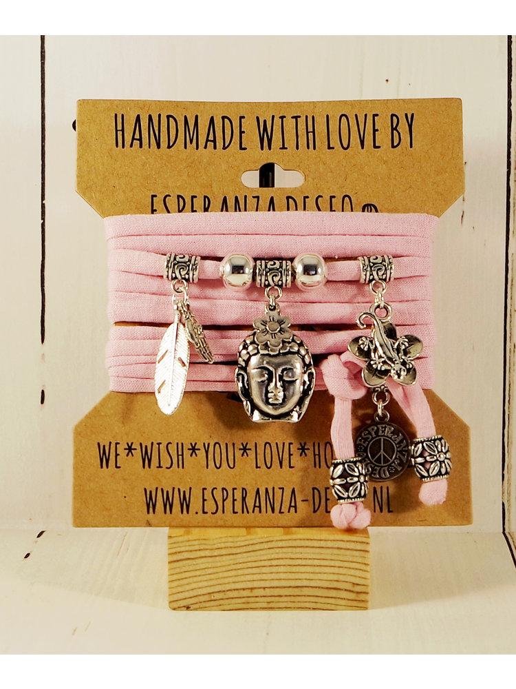Esperanza Deseo Bracelet pastel Silver Charms pink