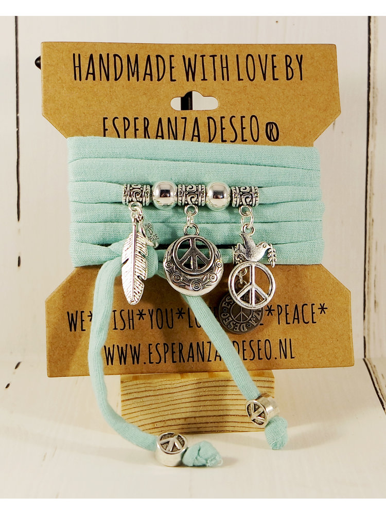 Esperanza Deseo Bracelet pastel Silver Charms mint green