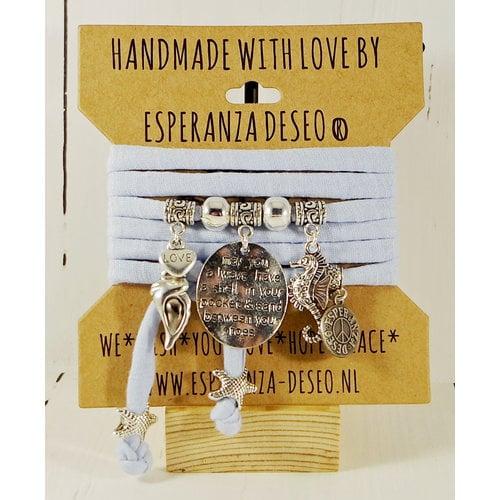 Esperanza Deseo Bracelet pastel Silver Charms light blue