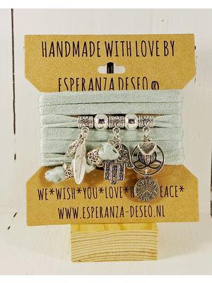 Esperanza Deseo Bracelet pastel Silver Charms light green