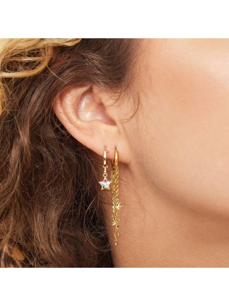 J.Y.M. Earrings with Chain and Charms  Tunder