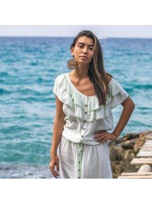 Isla Ibiza Bonita Earrings Cotton & Beads soft terra