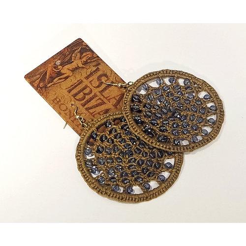 Isla Ibiza Bonita Earrings Cotton & Beads bleu