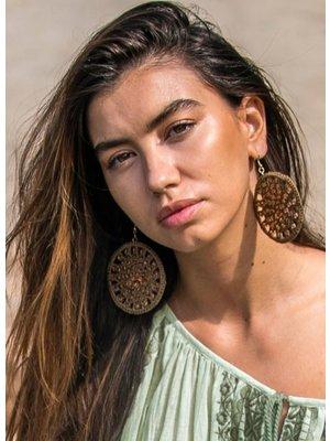 Isla Ibiza Bonita Earrings Cotton & Beads lila
