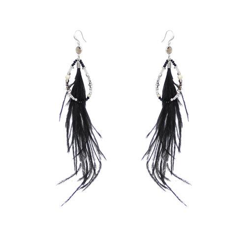 J.Y.M. Earrings Chic Feathers Black