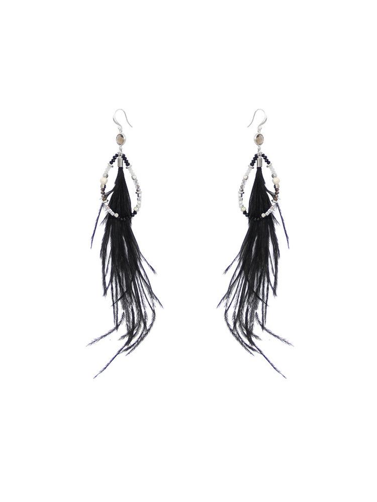 J.Y.M. Oorbellen Chic Feathers Black