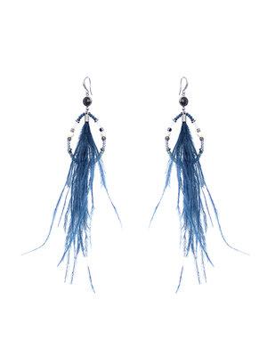 J.Y.M. Oorbellen Chic Feathers Bleu