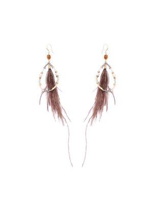 J.Y.M. Oorbellen Chic Feathers Brown