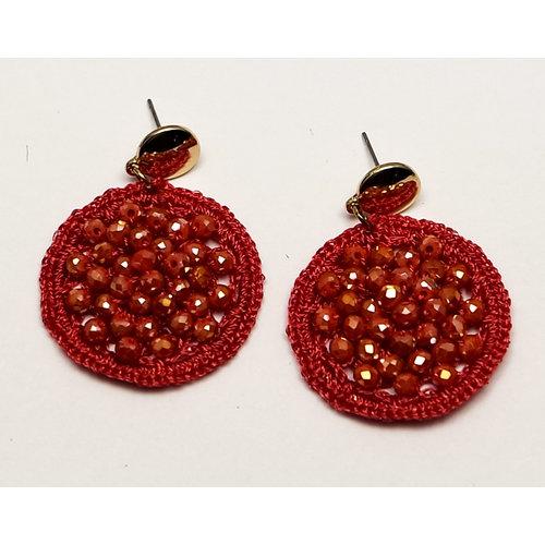 J.Y.M. Earrings Round Crystal Beads red
