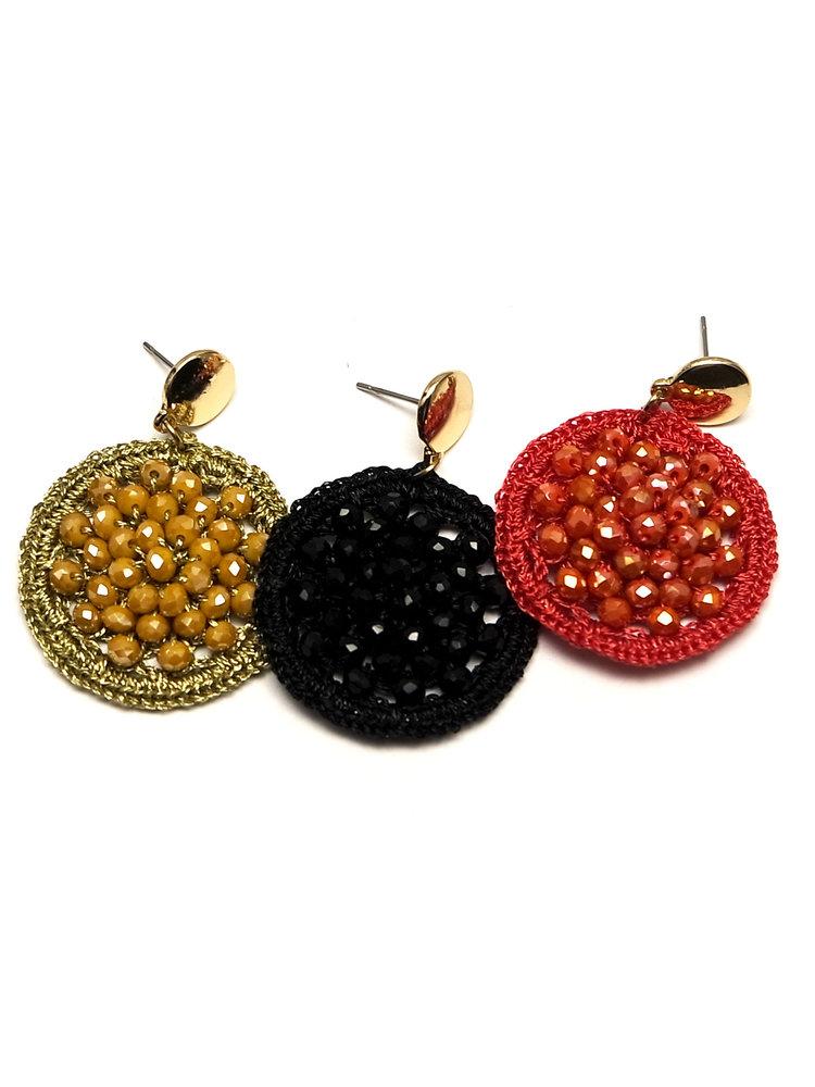 J.Y.M. Oorbellen Round Cristal Beads red