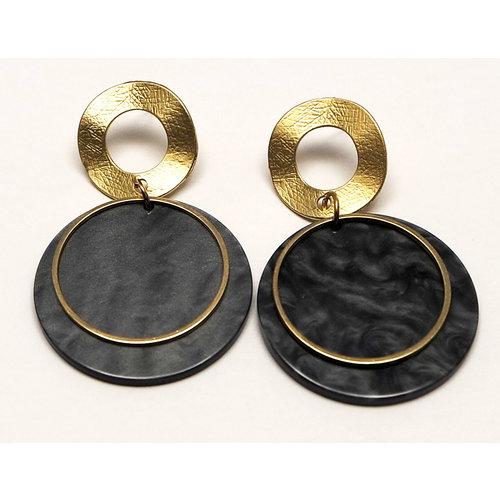 J.Y.M. Earrings Happy Rounds Black