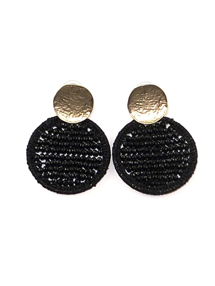 J.Y.M. Oorbellen Circle Beads zwart