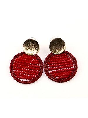 J.Y.M. Earrings Circle Beads rood