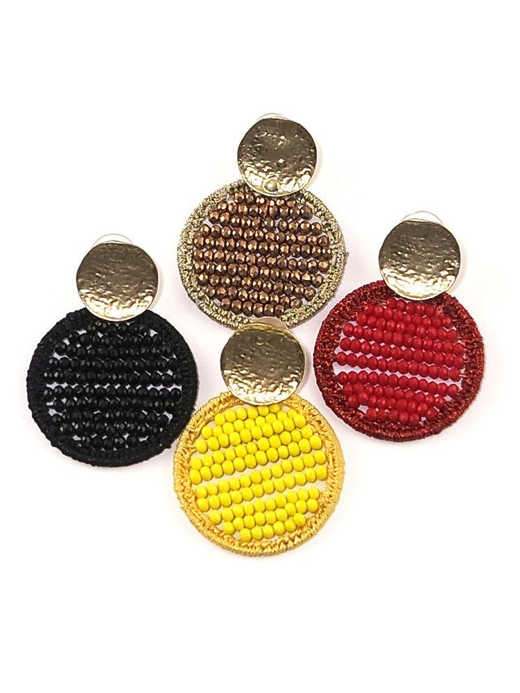 J.Y.M. Oorbellen Circle Beads rood