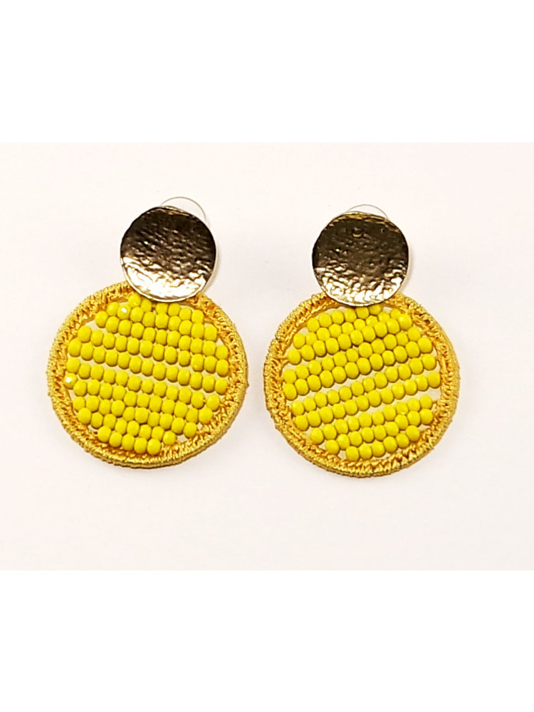 J.Y.M. Earrings Circle Beads geel