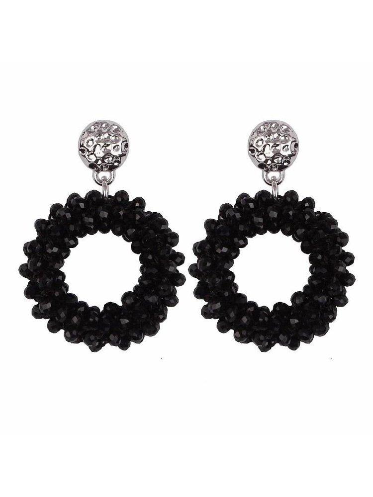 J.Y.M. Earrings crystal hope Black