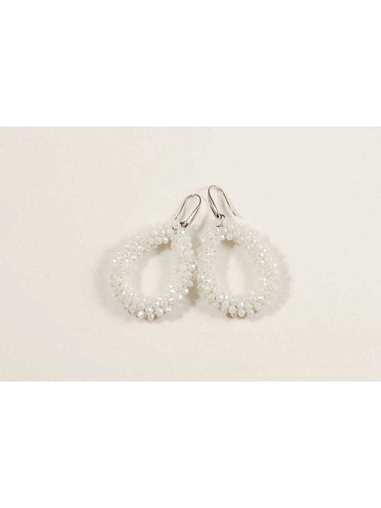 J.Y.M. Oorbellen Crystel Beads Hoops White