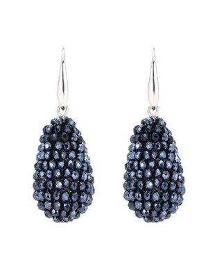 J.Y.M. Oorbellen Crystal beads Drops Bleu