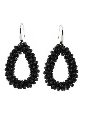 J.Y.M. Oorbellen Crystal beads Hoops Black