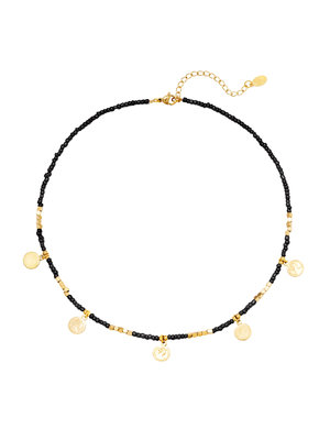 J.Y.M. Ketting Beads & Coins Black
