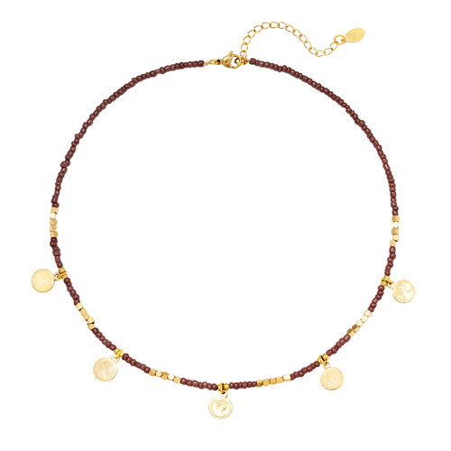J.Y.M. Ketting Beads & Coins Brown
