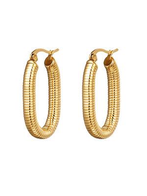 J.Y.M. Earrings Oval Spring Gold