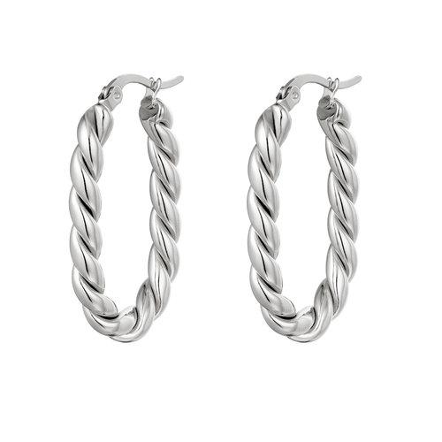 J.Y.M. Earrings Twisted Oval Silver
