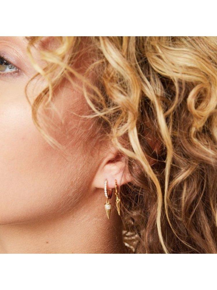 J.Y.M. Earrings Diamond Cone Gold