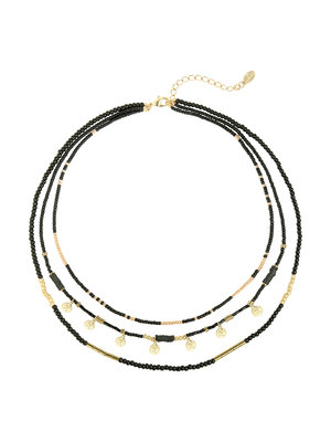 J.Y.M. Necklace Layers of beads Black